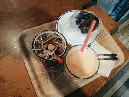 americano, detox juice &chocolate muffin